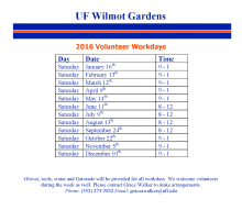 Wilmot Gardens 2016 Volunteer Workdays