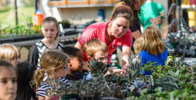 Children from Baby Gator visited Wilmot Gardens as a part of their spring break activities. Elizabeth Diehl, the director of therapeutic horticulture led them through a gardening project with them in the greenhouse.
